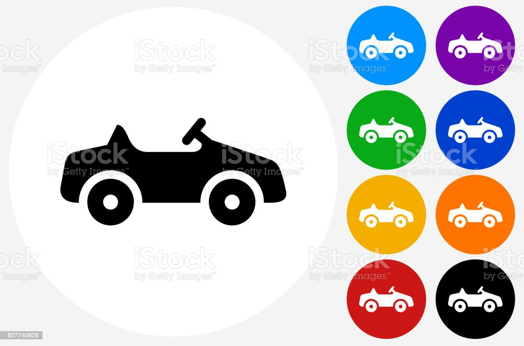 Toy Car Icon On Flat Color Circle Buttons Stock Vector Art More