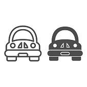 Toy car line and solid icon, Kids toys concept, Funny car sign on white background, children automobile icon in outline style for mobile concept and web design. Vector graphics
