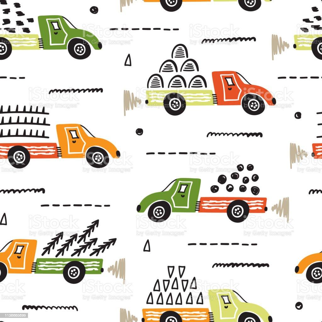 Toy Cars Vector Seamless Pattern Mit Doodle Dump Trucks Cartoon