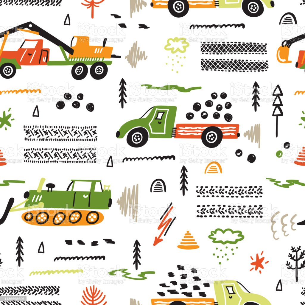 Toy Cars Vector Seamless Pattern Mit Doodle Heavy Construction