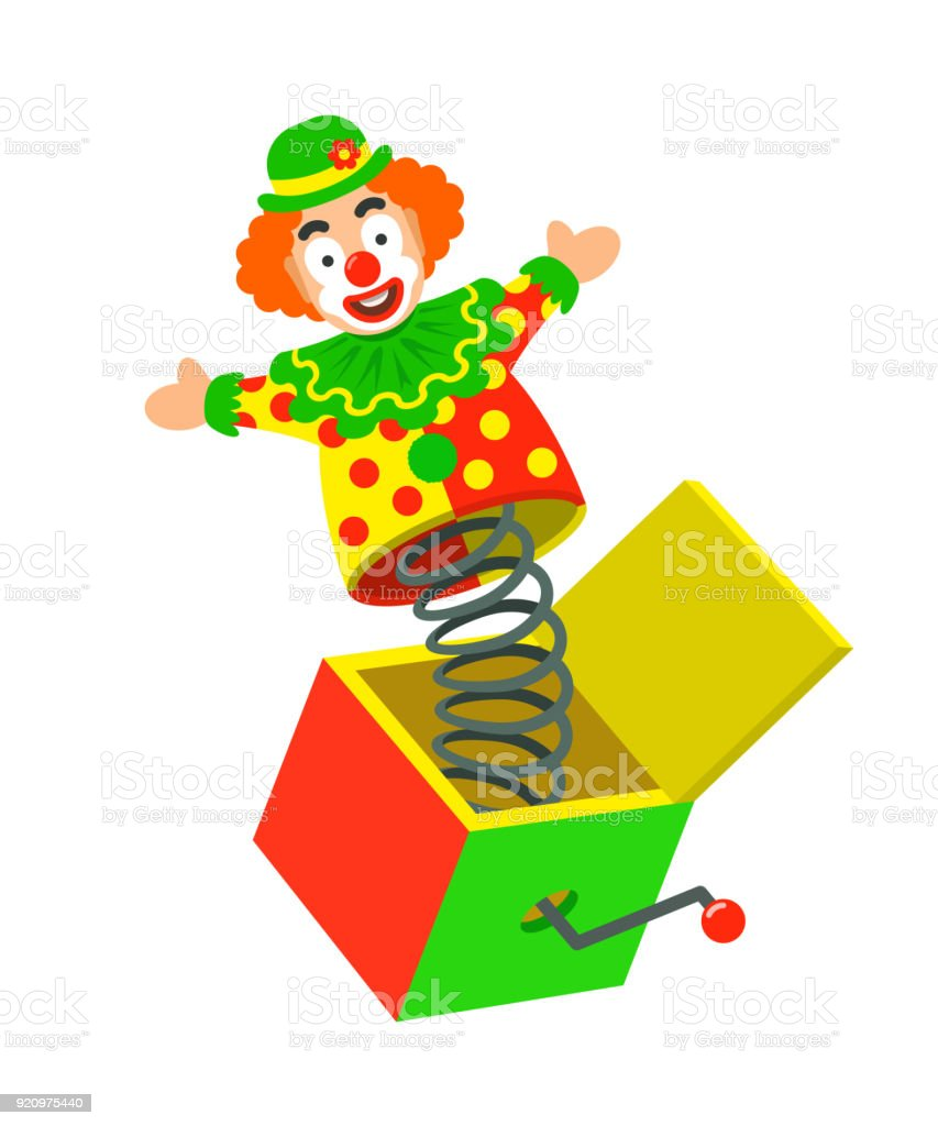 Toy circus clown on a spring pops out of a box vector art illustration