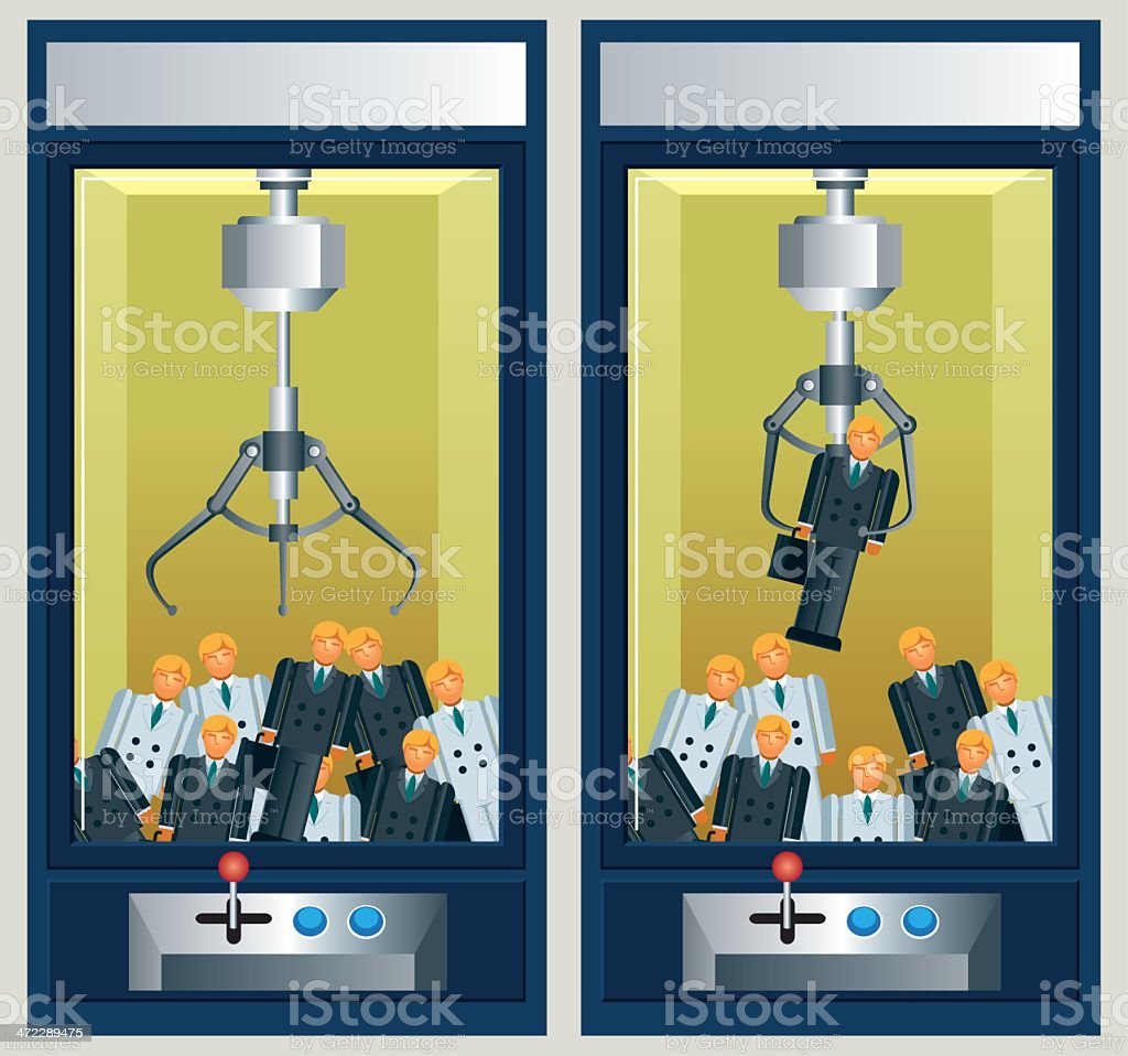 Toy Claw Machine with Businessmen royalty-free stock vector art