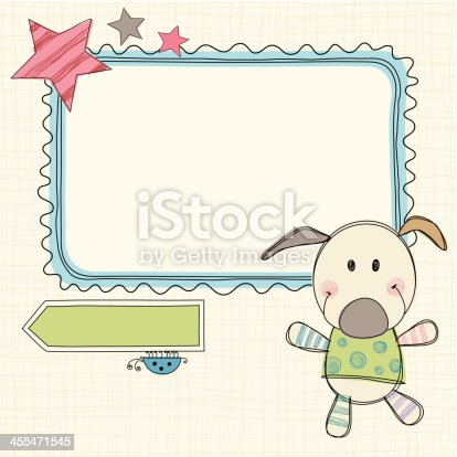 Hand drawn frame, banner  with toy dog and bug. Seamless background.  AI, EPS, SVG and JPG.