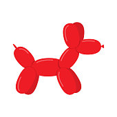Red Dog made with a balloon, isolated on white background. Vector Illustration
