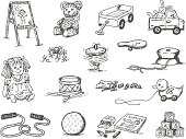 A doodle page of classic toys.