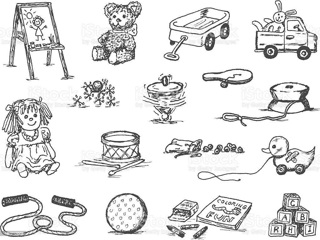 Toy Doodles vector art illustration
