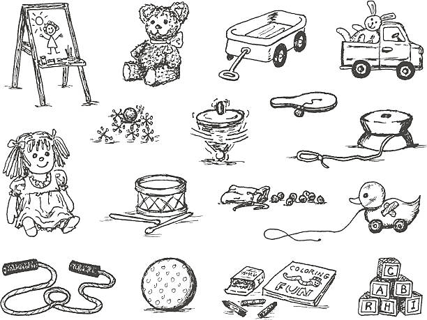 Toy Doodles A doodle page of classic toys.  christmas teddy bear stock illustrations