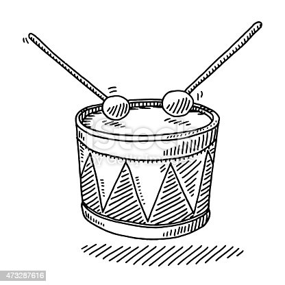 istock Toy Drum Musical Instrument Drawing 473287616