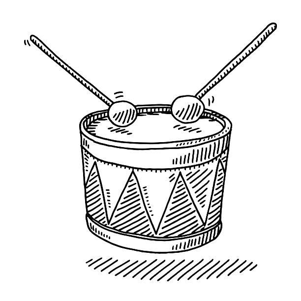 stockillustraties, clipart, cartoons en iconen met toy drum musical instrument drawing - drum