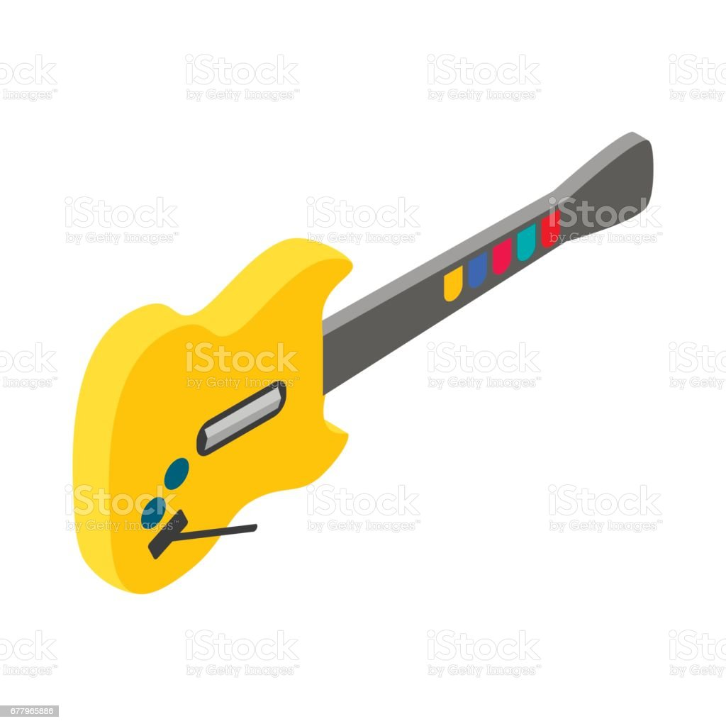 Toy electric guitar icon, isometric 3d style