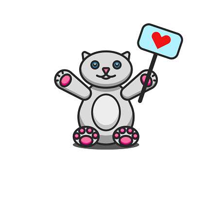 Toy fat cat cartoon character sits with a raised with a red heart sign, cute children vector illustration, kitten isolated on white background