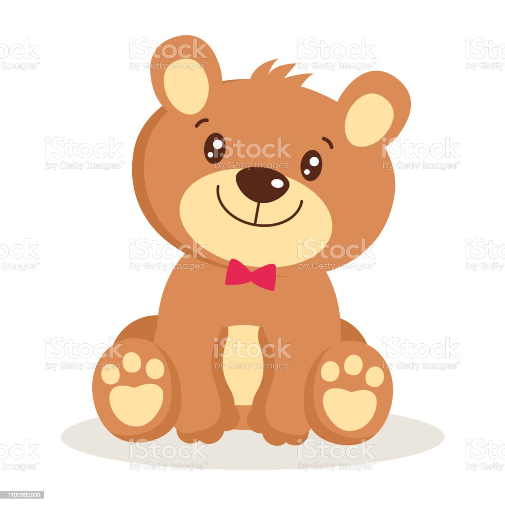 Toy For Girls Cute Cartoon Teddy Bear Puppies Sitting Vector Illustration Stock Illustration Download Image Now Istock