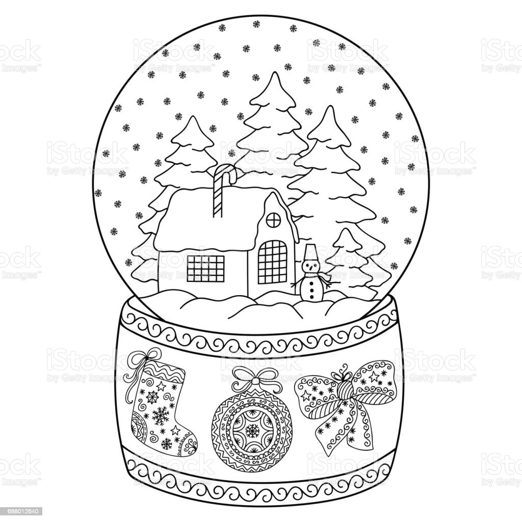 Toy Glass Snow Globe With House Coloring Book Page For Adults And ...