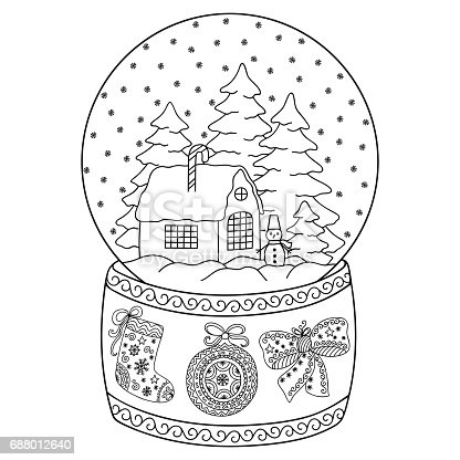 Toy Glass Snow Globe With House Coloring Book Page For Adults And Children Winter Decorative Pattern Christmas Trees Snowman Bow Ball Stocking