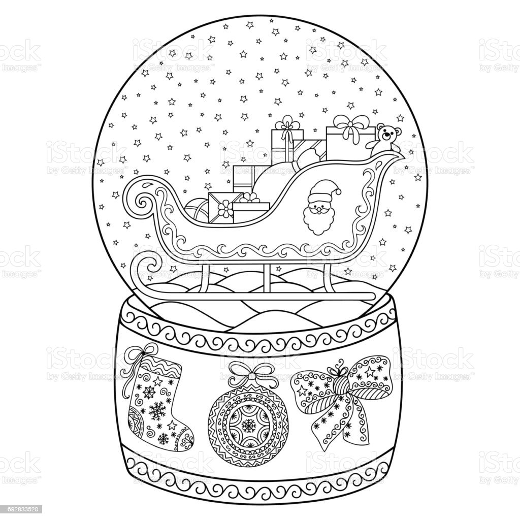 Toy Glass Snow Globe With Santa Sleigh Coloring Book Page For Adults ...