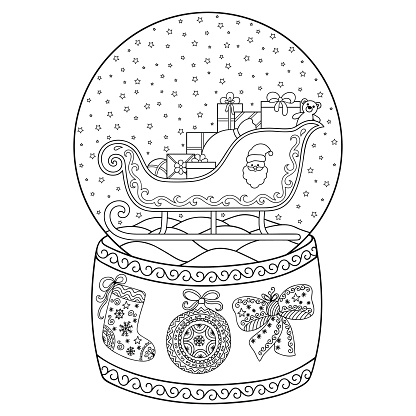 The toy that saved christmas coloring pages ~ Toy Glass Snow Globe With Santa Sleigh Coloring Book Page ...