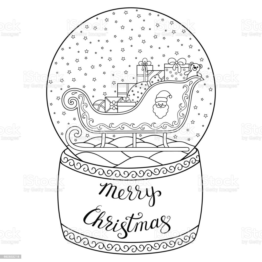 The toy that saved christmas coloring pages ~ Toy Glass Snow Globe With Santa Sleigh Lettering Merry ...