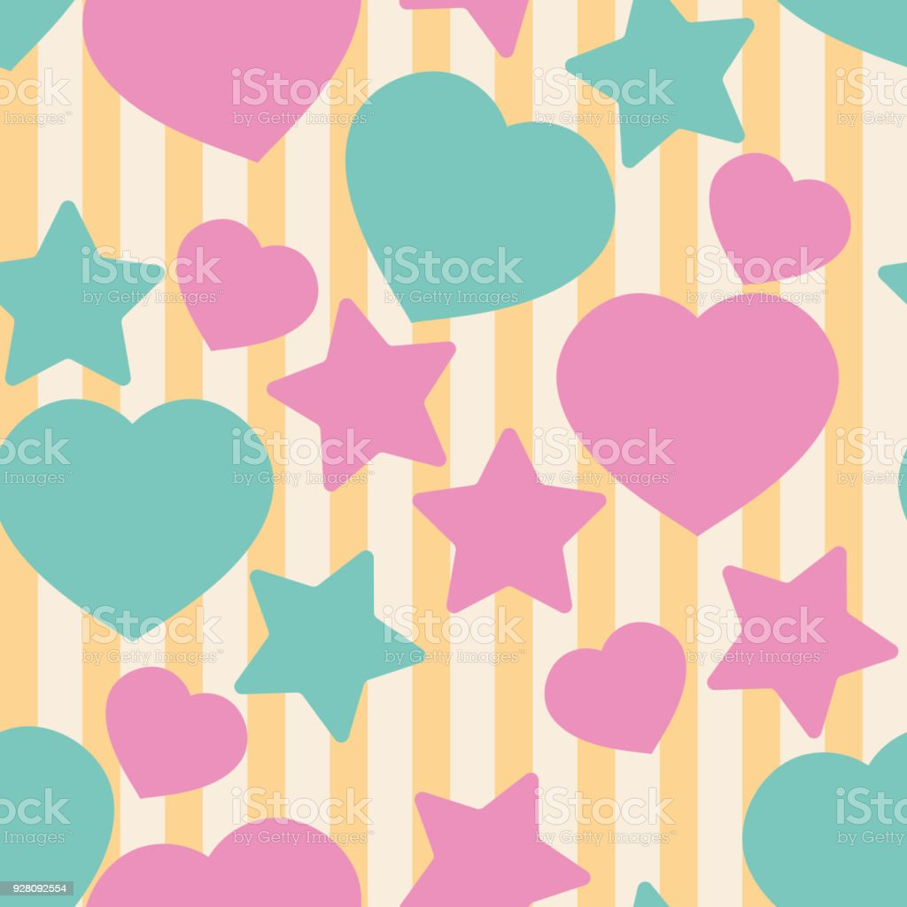 toy hearts and stars on a striped background seamless background