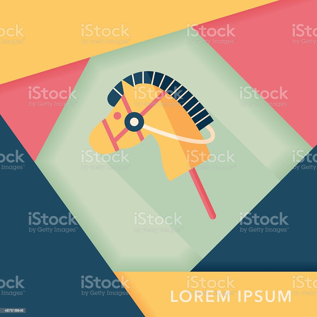 toy horse flat icon with long shadow,eps10 vector art illustration