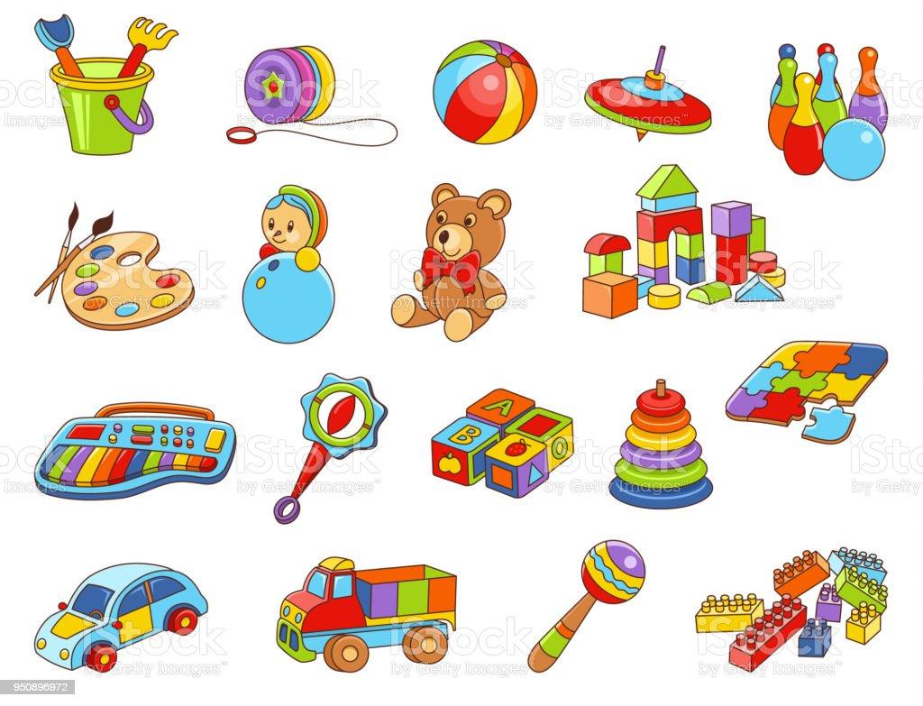 Coleção de ícone de brinquedo - cor ilustração em vetor. Brinquedos de crianças - ilustração de arte em vetor