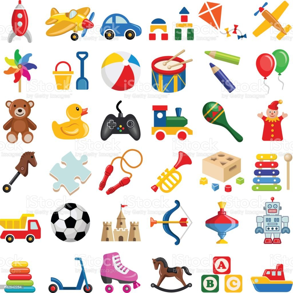 Coleção de ícone de brinquedo - ilustração de arte em vetor