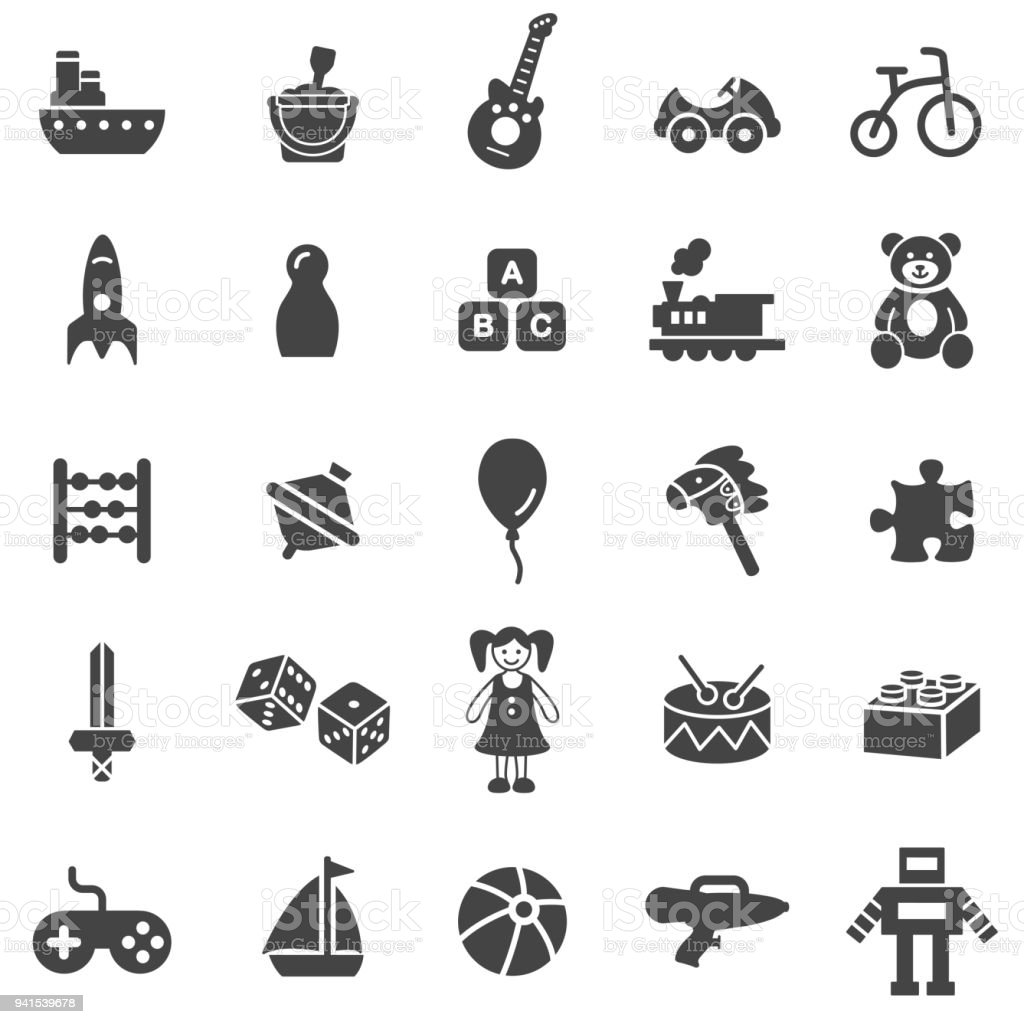 Conjunto de iconos de juguete - ilustración de arte vectorial