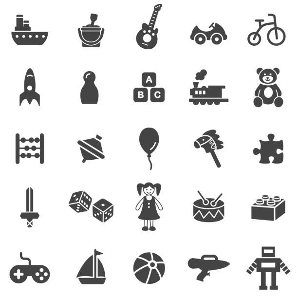 toy icon set - zabawka stock illustrations