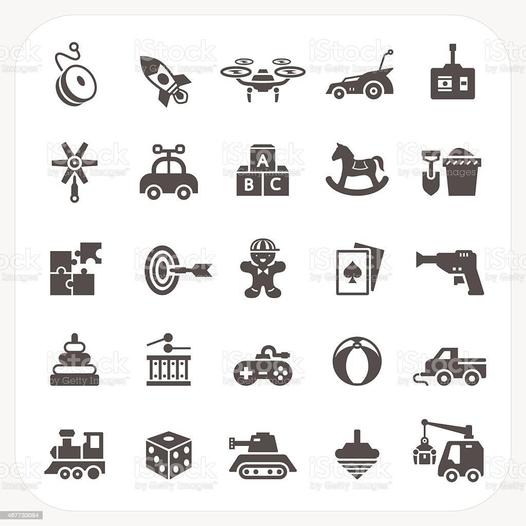 Toy icons set vector art illustration