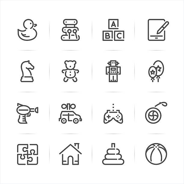 Toy icons Toy icons with White Background dollhouse stock illustrations