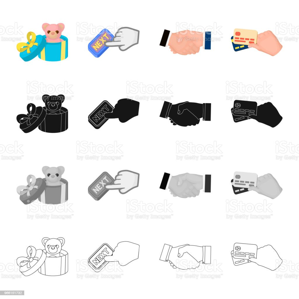 Toy in gift box, Next button, handshake, credit cards in hand.Sale and purchase set collection icons in cartoon black monochrome outline style vector symbol stock isometric illustration web. - arte vettoriale royalty-free di Affari