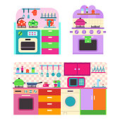 Toy kitchen set with utensil and household appliances for children. Vector cartoon flat illustration isolated on white background.