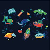 Boys toy objects / icons.