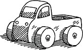 Hand-drawn vector drawing of a Toy Pick-up Truck. Black-and-White sketch on a transparent background (.eps-file). Included files are EPS (v10) and Hi-Res JPG.