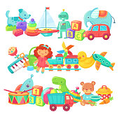 Toy piles. Kids toys groups. Cartoon baby doll and train, rocket ball elephant plastic drum and cars, boat for kid game gift box cute colorful isolated children vector set