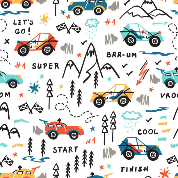 Toy Racing Cars Vector Seamless Pattern with Doodle Buggy Car and Highlands. Cartoon Transportation Background for Kids. Toy Racing Cars Vector Seamless Pattern with Doodle Buggy Car and Highlands. Cartoon Transportation Background for Kids. adventure drawings stock illustrations