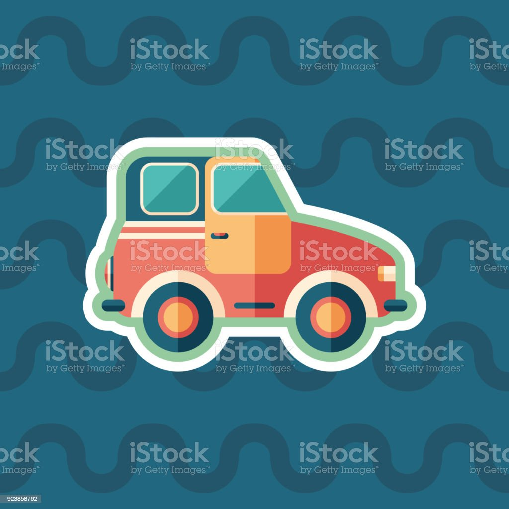 Toy retro car sticker flat icon with color background. vector art illustration