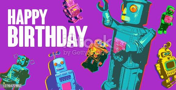 istock Toy Retro Robots Birthday 1276477852