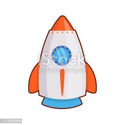 Vector illustration of toy rocket on white background