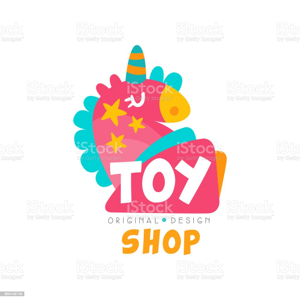 Toy shop logo design template, kids store, baby market badge vector Illustration on a white background toy shop logo design template kids store baby market badge vector illustration on a white background - stockowe grafiki wektorowe i więcej obrazów bez ludzi royalty-free