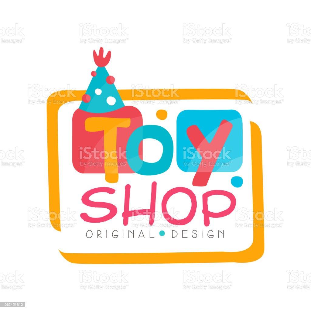 Toy shop logo original design, kids store, baby market badge vector Illustration on a white background royalty-free toy shop logo original design kids store baby market badge vector illustration on a white background stock vector art & more images of childhood