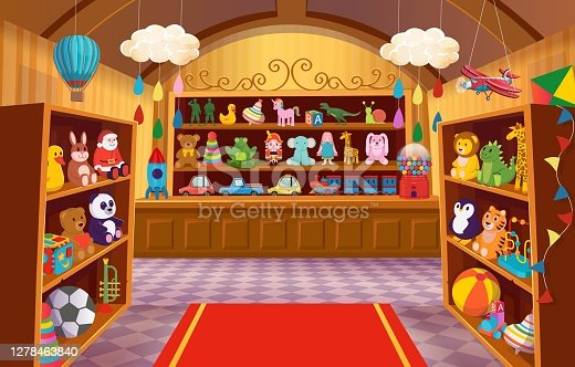 Toy shop with shelves of toys. Big set of colorful toys for children. soft toys, bear, bunny, giraffe, logical toys, toy soldiers, rocket, cars, steam locomotive, balls. Cartoon vector illustration.