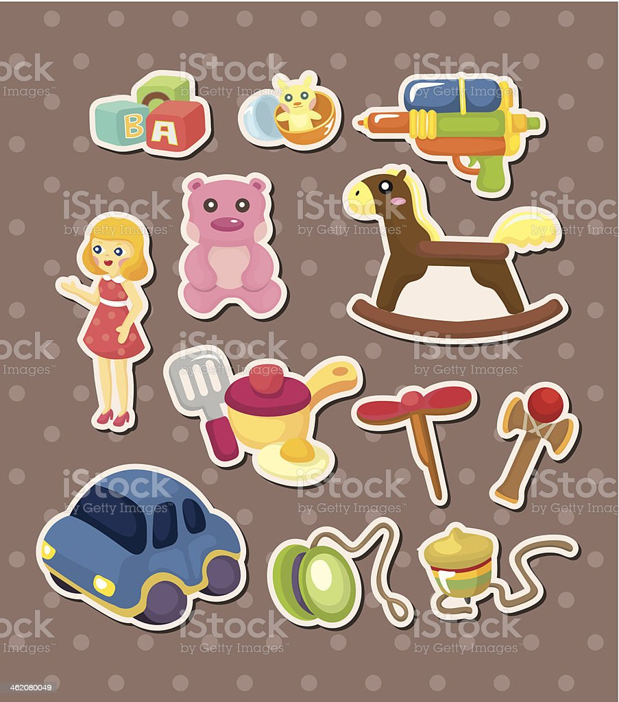 toy stickers vector art illustration