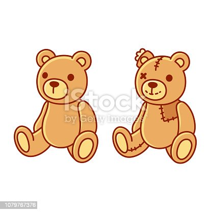 Toy teddy bear, new and old with patches and stitches. Cute cartoon vector illustration.