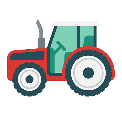 Toy Tractor Icon on Transparent Background