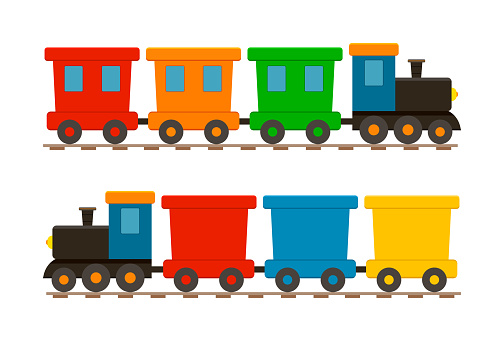 Toy train for kid. Cartoon child locomotive with wagons. Icon of cute train on railway. Isolated set on white background for children. Locomotive with engine and wheels on rails for holiday. Vector
