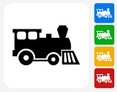 Toy Train Icon Flat Graphic Design