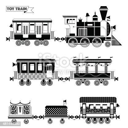 istock Tren de juguete. Locomotora con varios multi-colored ...