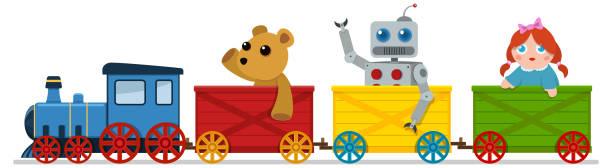 spielzeugzug - puppenkurse stock-grafiken, -clipart, -cartoons und -symbole
