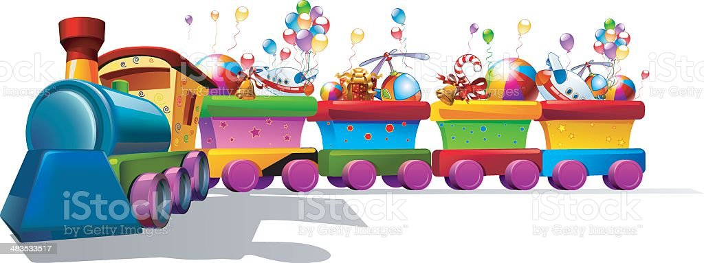 toy train with a lot of toys royalty-free stock vector art