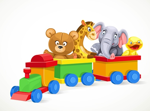 Toy Train With Soft Toys On The Train Isolated On White ...